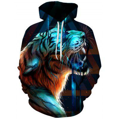 Bărbați dominator Tiger model Hoodie 3D digital Animal Print Hooded Casual Top Pulovere