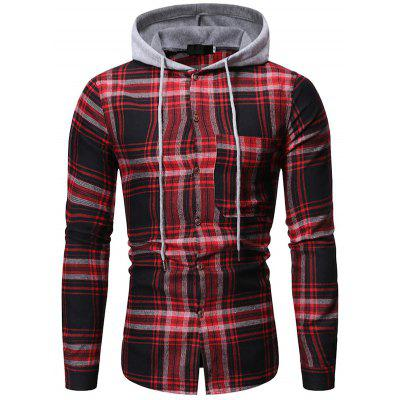 Men's Fashion Casual Plaid Shirt Trend Hooded Long-sleeved T-shirt with Drawstring