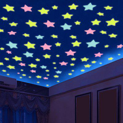 Luminous Star Wall Stickers Bedroom Living Room Home DIY 100pcs