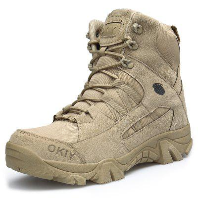 AILADUN Men's High-top Outdoor Boots Sports Thick Outsole Military Shoes Large Size