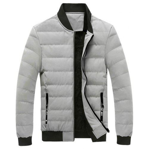 Generic Mens Stylish Zip Stand Collar Padded Thick Loose Fit Down Jacket Coat