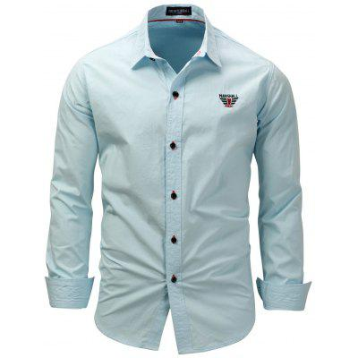 FREDD MARSHALL Men's Casual Button-down Shirt Embroidered Long-sleeved T-shirt Turn-down Collar Top