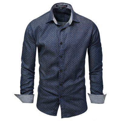 FREDD MARSHALL Men Fresh Dot Print Shirt Casual Long-sleeved T-shirt Buttons Top