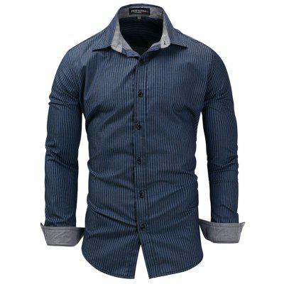 FREDD MARSHALL Men Mature Business Striped Shirt Casual Long-sleeved T-shirt Printing