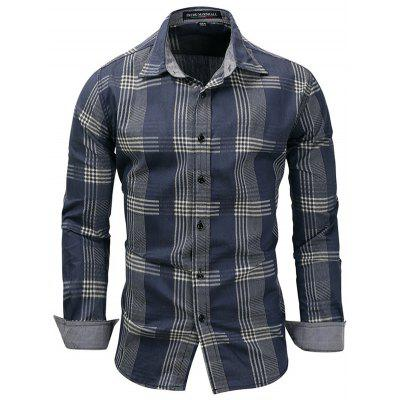 Fredd MARSHALL Mannen Plaid Striped shirt klassiek lange mouwen T-shirt Printing