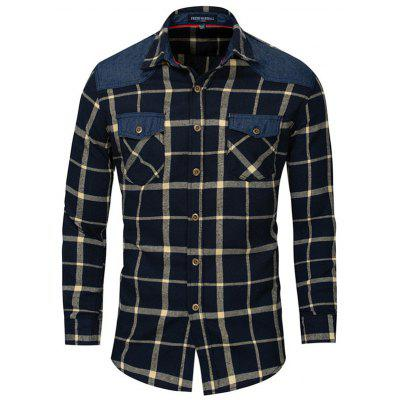 Fredd MARSHALL Men's Casual shirt met lange mouwen Plaid Stikkende Top button-down T-shirt