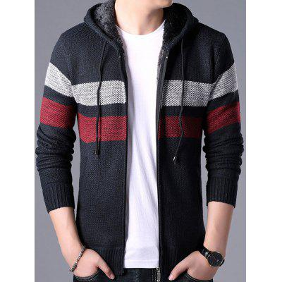 Men's Casual Contrast Color Sweater Fashion Hooded Coat Striped Top