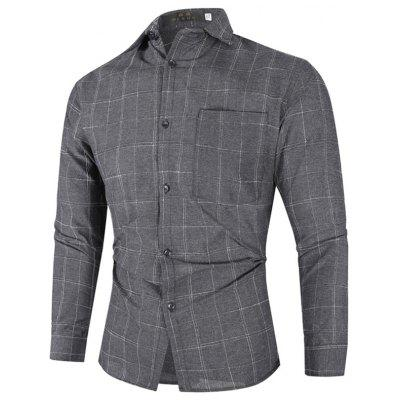 Men's Turn-down Collar Plaid Shirt Casual Long-sleeved T-shirt Single Pocket