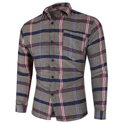 Men's Plaid Striped Shirt Casual Long-sleeved T-shirt Button-down Top