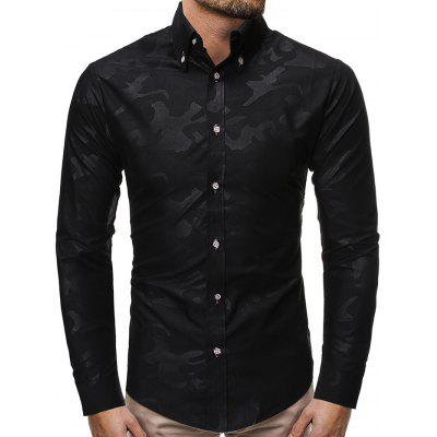 Men's Fashion Camouflage Print Shirt Business Casual Long-sleeved T-shirt Slim