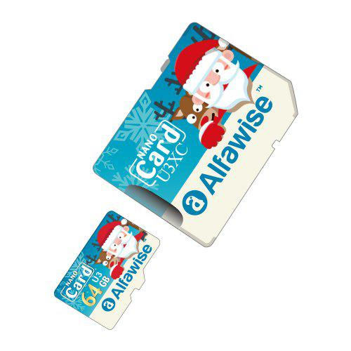 Alfawise Christmas Fun Edition Micro SD TF Card 3 In 1 64GB High Speed Memory Card Pack