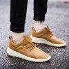 AILADUN Men's Solid Color Stitching Casual Shoes Low Top Lace Up Shoes Ultralight - LIGHT BROWN
