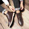 SENBAO Men's Pure Color Lace Up Boots Microfiber Leather Upper Casual Shoes - BROWN