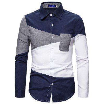 Men's Color Block Printing Shirt Long-sleeved Button-down T-shirt Single Pocket