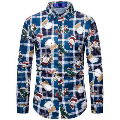Men Cartoon Santa Claus Shirt Plaid Printing Long-sleeved T-shirt Button-down Top