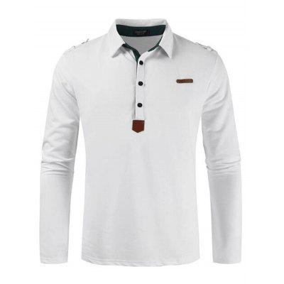 Autumn Moda slim Negócios shirt retro Turn-Down Collar T-shirt de mangas compridas masculina