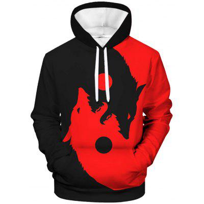 Men Realistic Wolf Cool Hoodie Creative Printing Sweater Casual Top