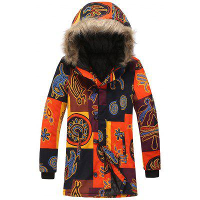 Male Chain Pattern Fall Winter Long Parka Personalized Printed Coat