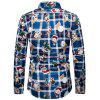 Men Cartoon Santa Claus Shirt Plaid Printing Long-sleeved T-shirt Button-down Top - CADETBLUE