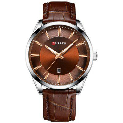 Curren 8365 Men's Genuine Leather Band Business Watch Waterproof Quartz Watch with Calendar