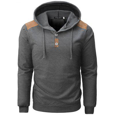 Men's Stitching Hoodie Half Buttons Decorative Sweater with Drawstring Pullover