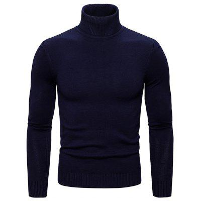 Men's Solid Color Sweater Turtleneck Knit Top Simple Daily Clothing