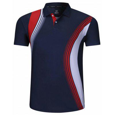 Men's Short-sleeved Turn-down Collar T-shirt Printing Breathable Sportswear Volleyball Tennis Tournament Top