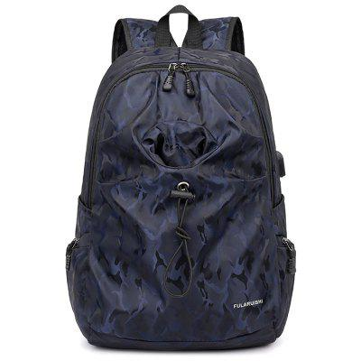 Men Printing Camouflage Backpack Large Capacity USB Charging Travel Bag Tide