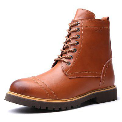AILADUN Men's High-top Lace Up Boots Casual Brush Off Toe Tooling Schoenen