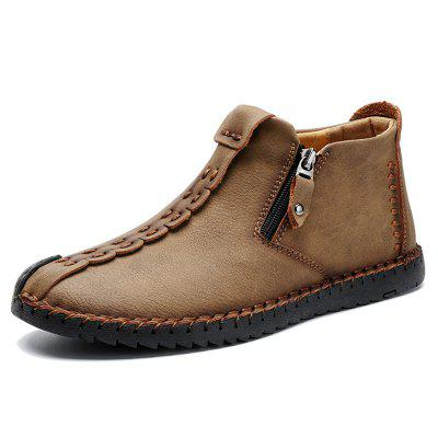 Men's Stitching Casual Shoes Side Zipper Design Durable Anti-collision Toe Footwear