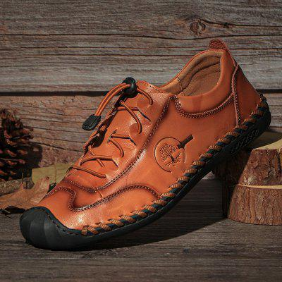 SENBAO Men's Lace-up Cowskin Casual Shoes Breathable Shoes Handmade