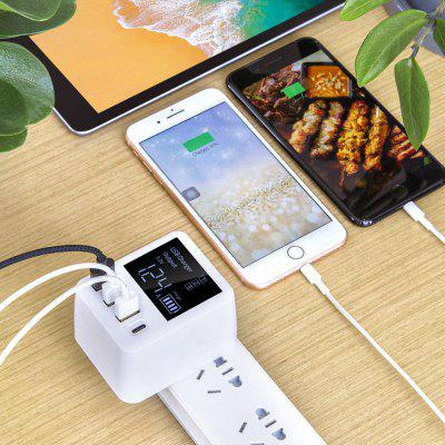 A9T 30W QC3.0 USB + Type-C 4 Ports Charger Adapter Digital Display Fast Charging