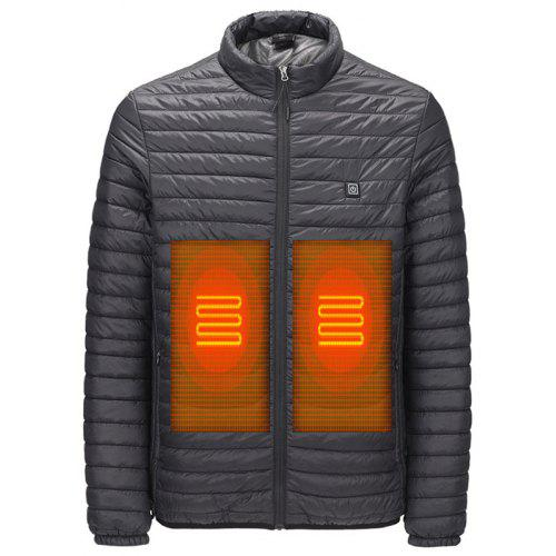 Men's Winter Keep Warm Thin Parka Smart Heat Solid Color Coat without Powerbank
