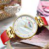 CURREN 9056L Women Leather Strap Watch Business Simple Diamond Decoration Dial - DEEP PINK