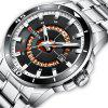CURREN 8359 Men's Round Calendar Watch with Unique Ring Hollow Out Dial - BLACK