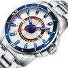 CURREN 8359 Men's Round Calendar Watch with Unique Ring Hollow Out Dial - PLATINUM