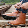 AILADUN Men's High-top Lace Up Boots Casual Brush Off Toe Tooling Shoes - LIGHT BROWN