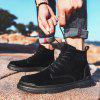 Men's Thick Bottom Non-slip Boots Casual Solid Color Lace-up Shoes - BLACK
