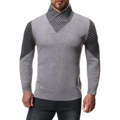 Men Overlapping High-necked Sweater Contrast Color Top Soft Comfortable Knit Clothing
