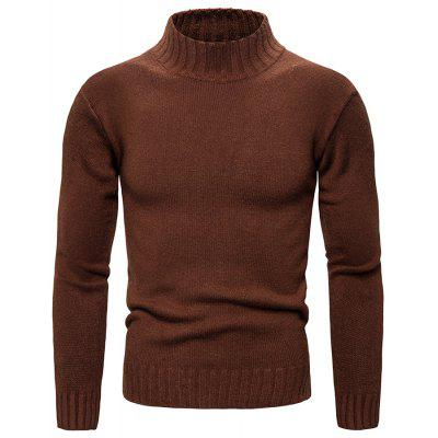 Men's Solid Color Slim Sweater Autumn Winter Knit Turtleneck Pullover Top