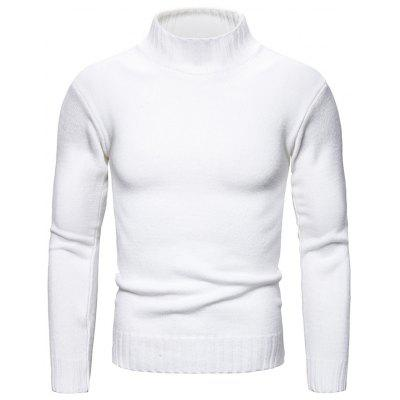 Solid Color Slim Men Sweater Outono Inverno Knit Gola Pullover Top