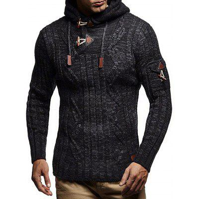 Men's Fashion Drawstring Sweater Hooded Casual Slim Knit Top