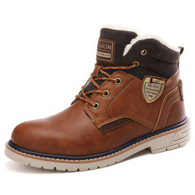 AILADUN Men's High-top Outdoor Boots Casual Stitching PU Keep Warm Shoes