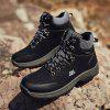 Men's Autumn Winter Stitching Lace Up Boots Outdoor Hiking Shoes Tide - BLACK
