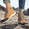 Men's Autumn Winter Stitching Lace Up Boots Outdoor Hiking Shoes Tide - KHAKI