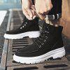 Men Trend High-top Stitching Boots Simple Outdoor Sports Shoes - BLACK