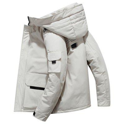 Mannen effen kleur Hooded Down jas Fashion Casual Winter Jacket