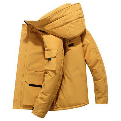 Men's Solid Color Hooded Down Coat Fashion Casual Winter Jacket
