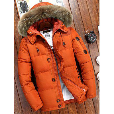 Pánske zimné Solid Color Down Coat Furry Hat kapucňou Outdoor Top