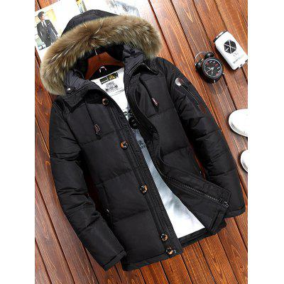 Men's Winter Solid Color Down Coat Furry Hat Hooded Outdoor Top